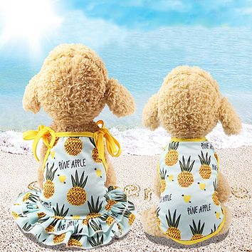 Lovely Pineapple Pet Dog Cat Dress/Vest Summer Costume Apparel Couple Outfit