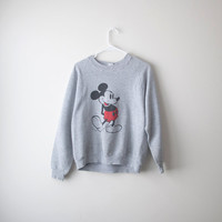 Retro Mickey Mouse Heather Gray Pullover Sweater