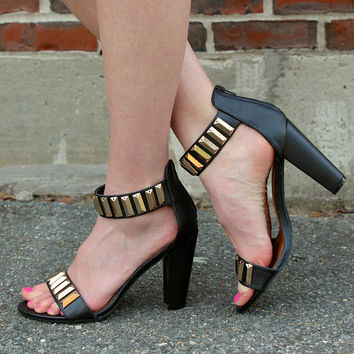 """Nyla"" Studded Ankle and Toe Strap High Heel Sandals - Black"