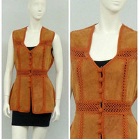 Vintage 70s Tan Suede Vest, Leather Vest, Hippie Vest, Western Vest, Burnt Orange Crochet Vest, Long Vest, Hippie Costume, Boho Vest