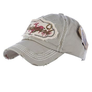 Cowgirl Distressed And Faded Cap