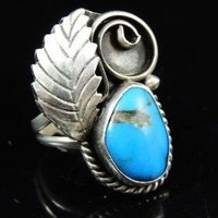 Silver NAVAJO Turquoise Leaf Ring Signed Morris