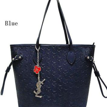DCCKR2 YSL Yves Saint Laurent Tide brand fashion women s fine leather handbag F-MYJSY-BB blue
