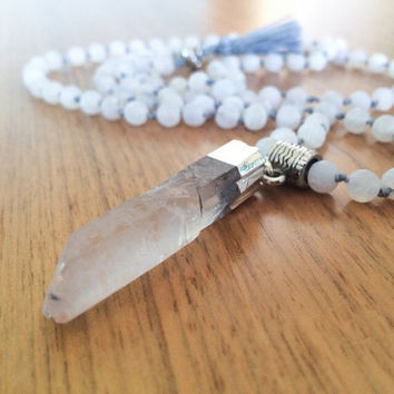 Crystal Necklace Raw Quartz Long Beaded Necklace, Crystal Pendant, Crystal Necklace, Quartz Pendant Necklace, Quartz Mala Necklace