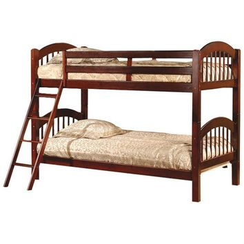 Twin Over Twin Bunk Bed With Arch Headboard Footboard In Cherry