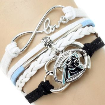 USA Football Team Logo Bracelet Hand-Made Carolina Panthers infinity Multi-layer Woven Bracelet for DIY sports jewelry