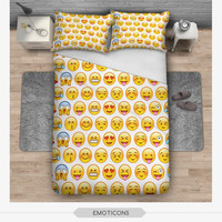 Bedroom Hot Deal Emoji 3D Print Cushion Quilt Case Bedding Set [8267873927]