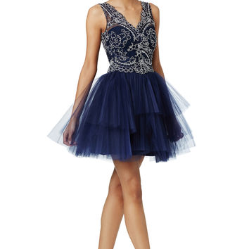 Marchesa Notte Navy Natalie Dress