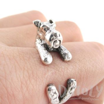 3D Schnauzer Dog Shaped Animal Wrap Ring in 925 Sterling Silver | US Sizes 4 to 9