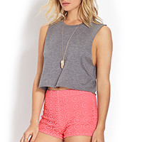 FOREVER 21 Retro Crochet Shorts Bubble Gum