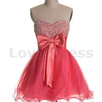 Pink Sweetheart Neck Cocktail Prom Dress homecoming dresses