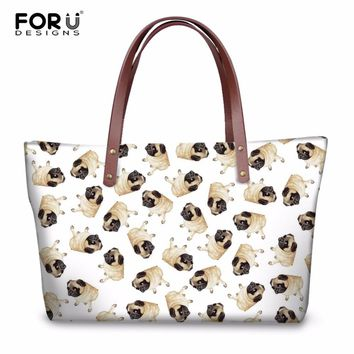 FORUDESIGNS Cute Animal Pug Dog Pattern Women Casual Cross Body Bags High Quality Fashion Girls Tote Shoulder Bags for Female