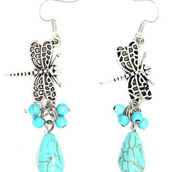 Turquoise Dragonfly Earrings Antique Silver Tone EI54 Dangle Bead Blue Chandelier Fashion Jewelry