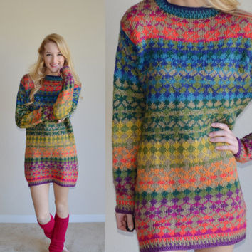 Vintage Colorful Sweater Neon Tribal Print Aztec Hipster Tumblr Sweater Womens Pullover Jumper Long Soft Sweater Size Small Sweater Dress