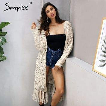 Elegant knitting long cardigan women sweater Long sleeve tassel white jumper Female knitted hollow out  jersey
