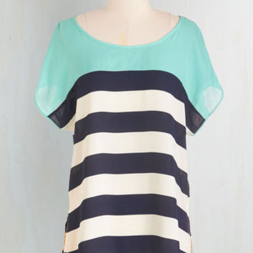 Nautical Mid-length Short Sleeves Seaside at Sunrise Top by ModCloth