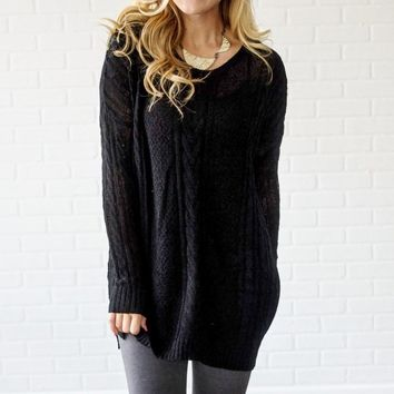 Black-Cable-Knit-Oversized-Sweater