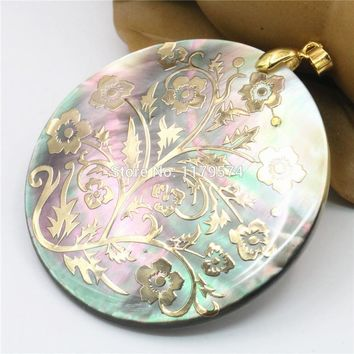 51mm Natural Accessories Multicolor Abalone Paua Sea Pearl shell Pendants Flower DIY Christmas Women Girls Gifts Jewelry Making