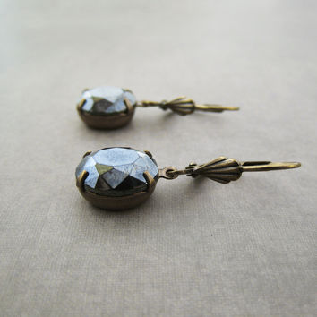 Hematite Earrings - Vintage Glass Charcoal Grey Black - Brass Leverback - Elegant