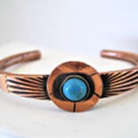 Native American Turquoise  Cuff  - Copper Bracelet - Stamped Symbols - Mid Century