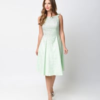 Iconic by UV Mint Studded Brocade Audrey Swing Dress