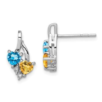 925 Sterling Silver Rhodium-plated Blue Topaz and Citrine Diamond Earrings