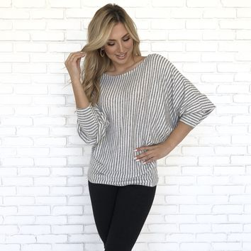 Fleece Stripe Sweater Top