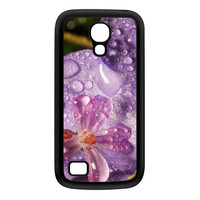 Wet Flower Black Silicon Rubber Case for Galaxy S4 Mini by Mick Agterberg