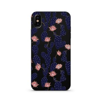 Black Wood Printed - Blue Cactus