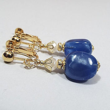 Blue Earrings, Drop Earrings, Gold Plated, Baroque Shape Beaded with Vintage Pearly Lucite Beads, Clip on Earrings Lever Back Hook