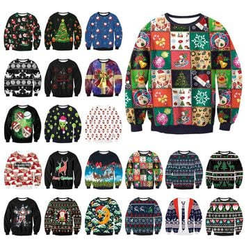 Unisex Men Women 2019 UGLY CHRISTMAS SWEATER Vacation Santa Elf Funny Womens Men Sweaters Tops Autumn Winter Clothing