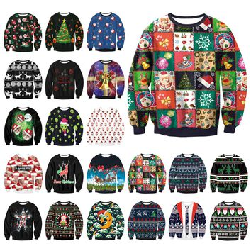 Gogoboi Unisex Men Women  UGLY CHRISTMAS SWEATER Vacation Santa Elf Funny Womens Men Sweaters Tops Autumn Winter Clothing