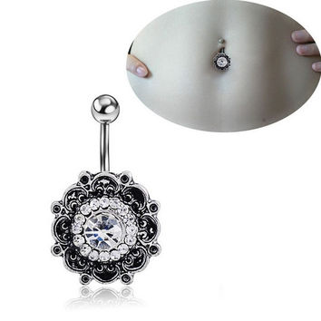 Retro Flower Body Piercing Jewelry Navel Ring Belly Button Ring Crystal Rhinestone Barbell Bar = 5978923585