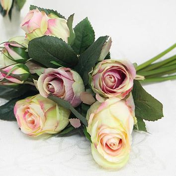 """Silk 9 Rose Bouquet in White 11"""" Tall"""
