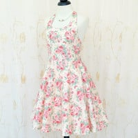 My Lady IV - Spring Summer Sundress Floral Halter Dress Old Rose Party Tea Dress Halter Wedding Bridesmaid Dress Feminine Day Dress XS-XL