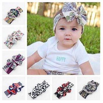 New Baby Girl Tie Knot Bow Headband Elastic Printing Knitted Cotton Children Newborn Infant Hair Band Summer Turban Bebe Bandana