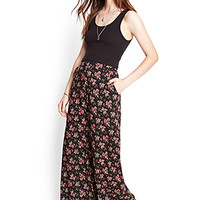 FOREVER 21 Flowy Floral Palazzo Pants Black/Pink