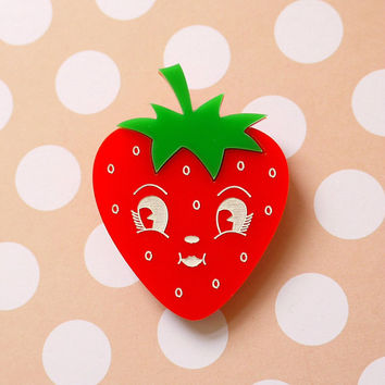 Cynthia Strawberry Brooch - laser cut acrylic - Kitsch Vintage 50s Anthropomorphic Novelty Statement Pin Fruit Retro Cute Fun Food Kawaii