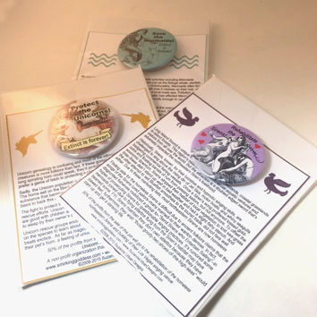 Protect the Unicorns PInback with Flat Story Card, Great Stocking Stuffer