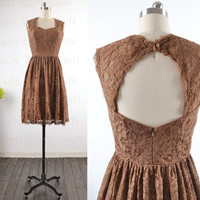 Short Lace Bridesmaid Dresses, Custom Straps Lace Sweetheart Brown Cocktail Dresses, Short Lace Brown Formal Dresses