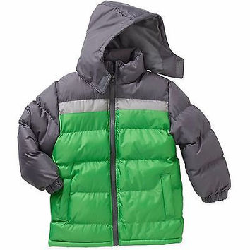 Climate Concepts Boys Fleece Lined Color Block Bubble Jacket, XXL 18, Gray/Green