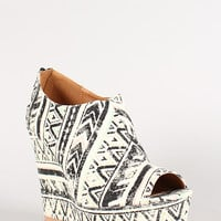Qupid Clemence-96 Tribal Print Platform Wedge