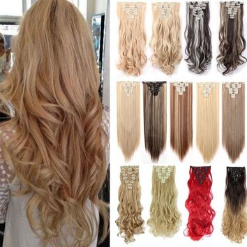 "24"" Curly 8Pcs Full Head 18Clips Blond Ombre Mix Hair Extensions Hairpiece 27Colors"