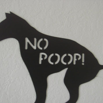 Dog NO POOP Outdoor Black Matte16 Gauge Metal Art Yard Stake Sign