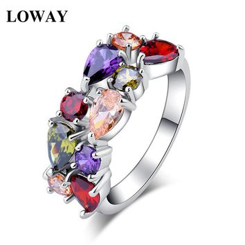 LOWAY White Colorful  Gold Color Engagement Austrian Zirconia Rings for Women Wedding Jewelry JZ5805
