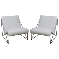 Pair of Chic Milo Baughman Slippers Chairs