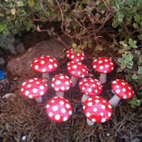 miniature set of 10 fairy garden mushrooms red with white poka dots  also available in other colors