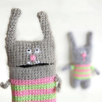 Bunny Phone case and soft toy Easter gift set for mom and kid Crochet Bunny toy and crochet bunny phone case