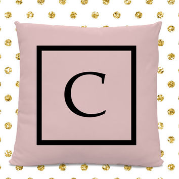Initial Pillow - Letter Pillow - Pillow with Letter C - Monogrammed Pillow - Custom Throw Pillow - Pink Letter Pillow