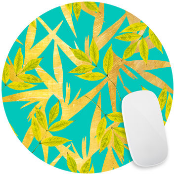 Gold and Teal Florals Mouse Pad Decal
